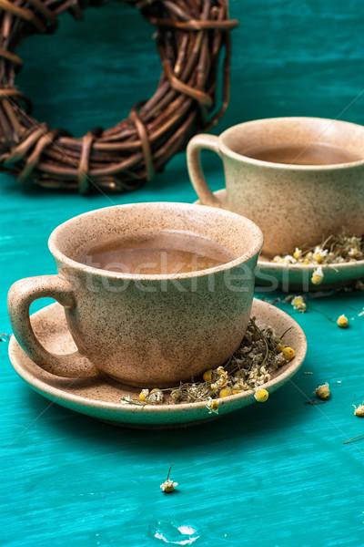 Dwa rumianek herbaty pachnący ceramiczne Zdjęcia stock © nikolaydonetsk