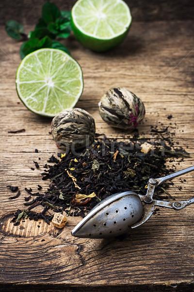 Tea főzet citrus menta fából készült rusztikus Stock fotó © nikolaydonetsk