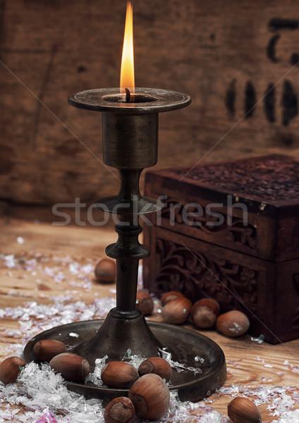 Candela candeliere set brucia Natale ottone Foto d'archivio © nikolaydonetsk