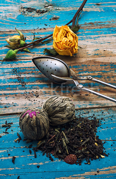 Tea leaves for brewing,tea spoon  Stock photo © nikolaydonetsk