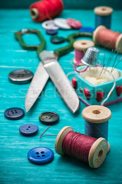 Dolgozik szerszám fonál gombok iparművészet türkiz Stock fotó © nikolaydonetsk