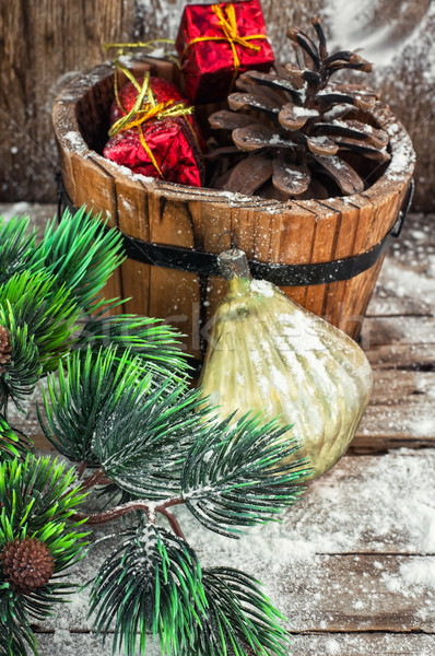 装飾 冬 休日 装飾的な 木製 たらい ストックフォト © nikolaydonetsk