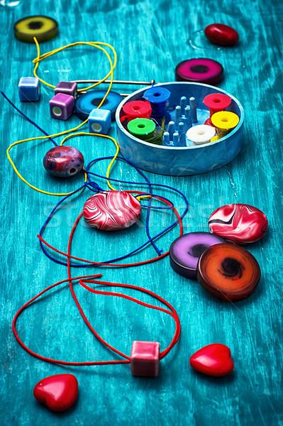 Artes miçanga outro bordado desatualizado Foto stock © nikolaydonetsk