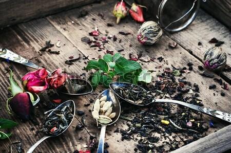 Tea főzet különböző száraz vasaló levél Stock fotó © nikolaydonetsk
