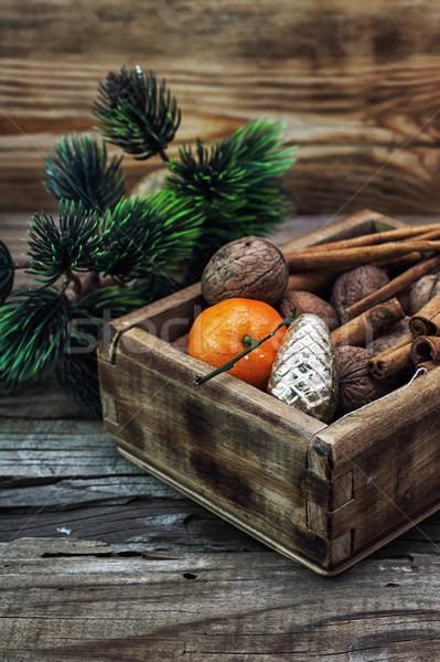 Doboz csemegék karácsony asztal szett egyéb Stock fotó © nikolaydonetsk