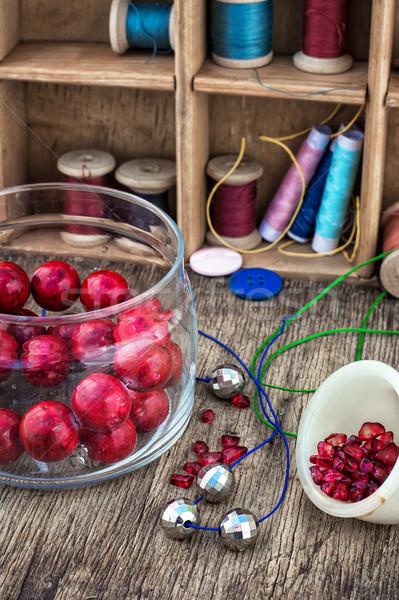 Ingesteld handwerk verschillend tools naaien vintage Stockfoto © nikolaydonetsk