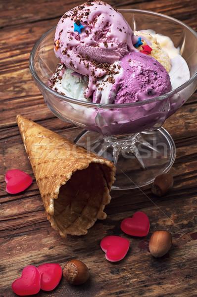 фрукты мороженым чаши изображение Vintage продовольствие Сток-фото © nikolaydonetsk