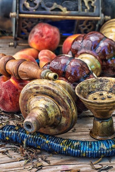 Hookah details tabel vers vruchten ontspannen Stockfoto © nikolaydonetsk