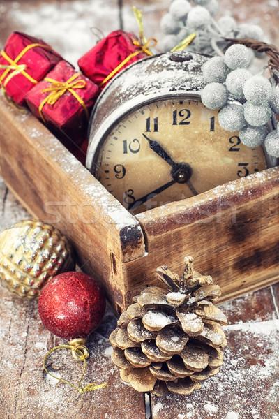 Retro Noel eski çalar saat modası geçmiş Stok fotoğraf © nikolaydonetsk