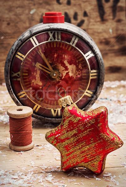 Zegar zabawki vintage stylu christmas dekoracji Zdjęcia stock © nikolaydonetsk