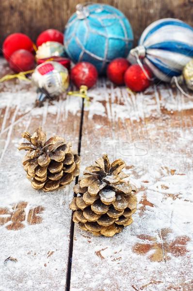 Decoração ano novo dois pinho natal Foto stock © nikolaydonetsk