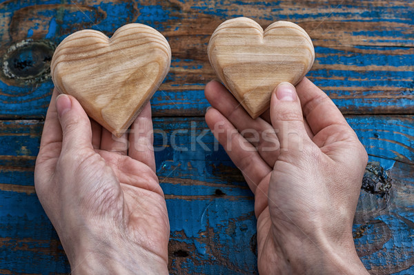 two symbolic wooden heart Stock photo © nikolaydonetsk