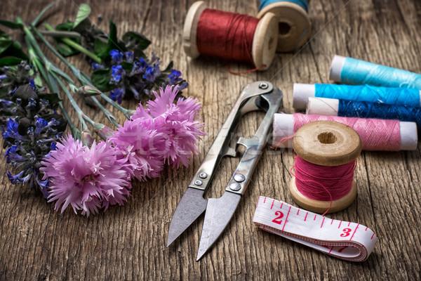 Coser herramientas tijeras hilo botones vintage Foto stock © nikolaydonetsk