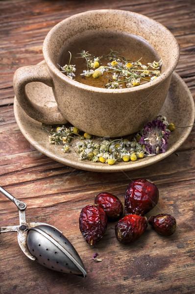 Cura camomila caldo perfumado chá rústico Foto stock © nikolaydonetsk