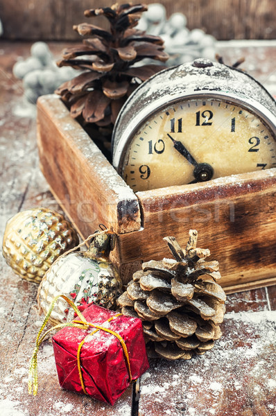Retro natal velho despertador desatualizado Foto stock © nikolaydonetsk