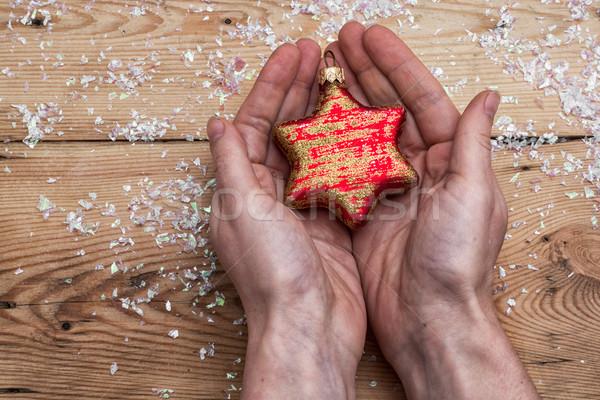 Christmas speelgoed ingesteld menselijke hand glas Stockfoto © nikolaydonetsk