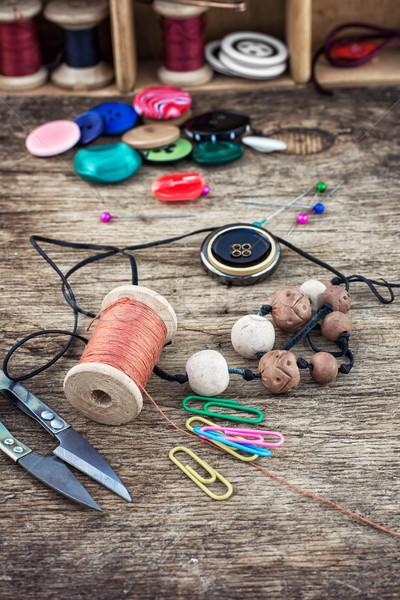 Elementos costura establecer botones moda Foto stock © nikolaydonetsk