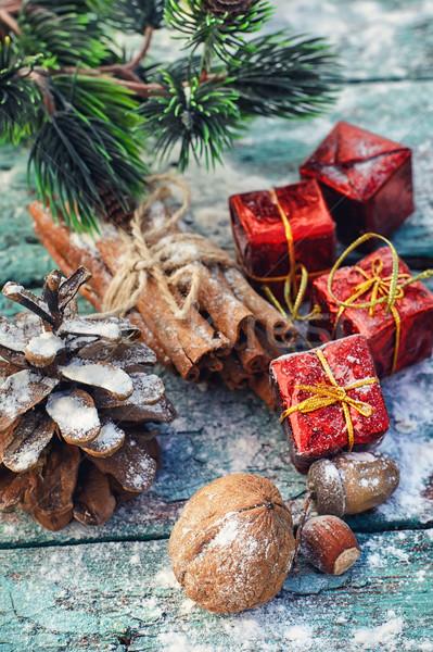 クリスマス 静物 ナッツ 木製 お祝い ナット ストックフォト © nikolaydonetsk