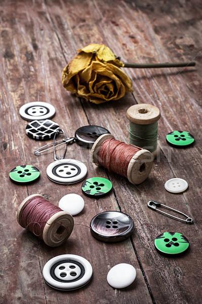 De costura botões fio secas amarelo Foto stock © nikolaydonetsk