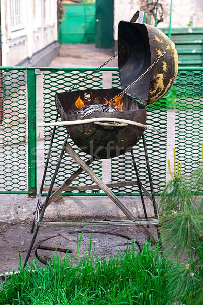 珍しい グリル 燃焼 木材 火災 金属 ストックフォト © nikolaydonetsk
