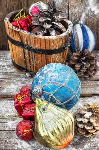 Decoratie winter vakantie decoratief houten kuip Stockfoto © nikolaydonetsk