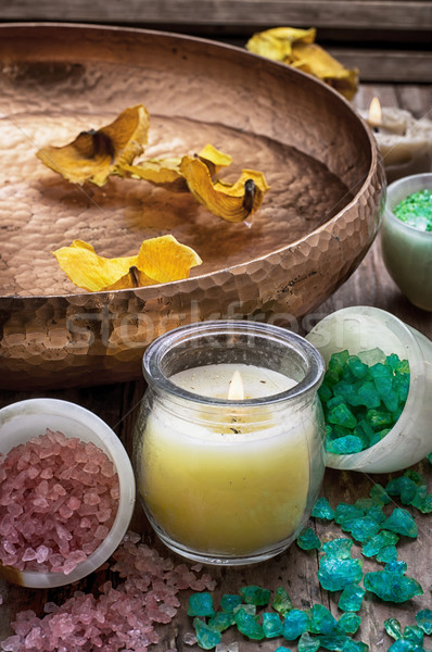 bronze bowl with water and accessories spa treatments Stock photo © nikolaydonetsk