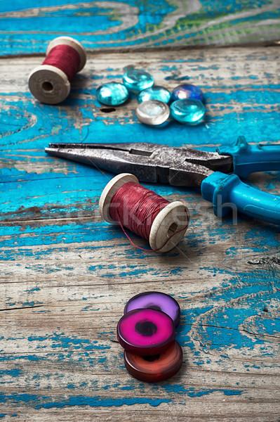 Iparművészet gyöngyök egyéb kézimunka kellékek idejétmúlt Stock fotó © nikolaydonetsk