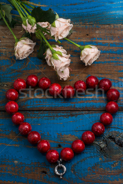 коралловые бисер закрывается из форма сердце Сток-фото © nikolaydonetsk