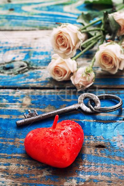 Tebrik kartı tatil aşıklar mum kalp simge Stok fotoğraf © nikolaydonetsk