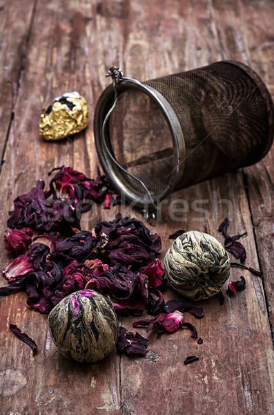 tea strainer and tea leaves  Stock photo © nikolaydonetsk