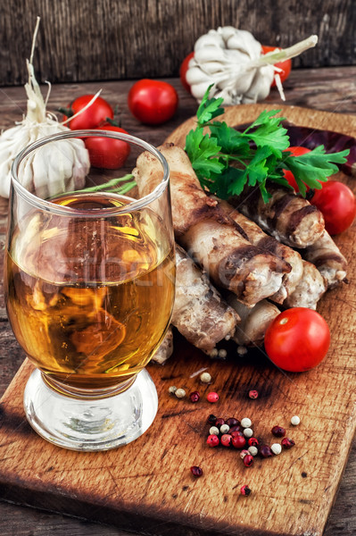 grilled Turkey sausages with beer Stock photo © nikolaydonetsk
