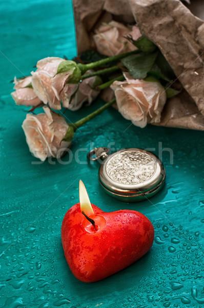 シンボル バレンタインデー 燃焼 キャンドル 中心 ストックフォト © nikolaydonetsk