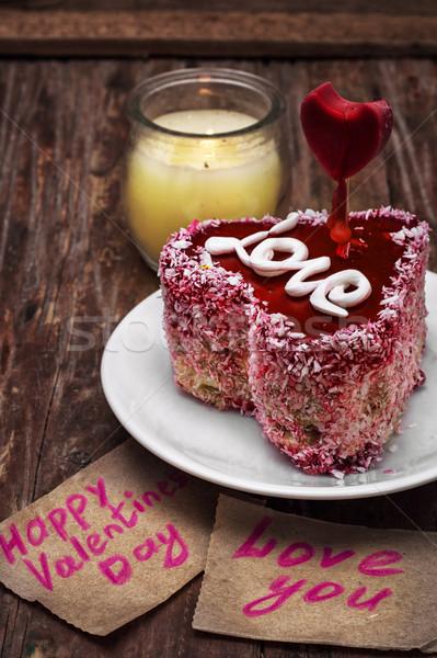 Tatlı tatil sevgililer günü kek meyve doldurma Stok fotoğraf © nikolaydonetsk