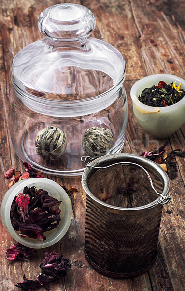 brewed leaf tea in glass jar Stock photo © nikolaydonetsk