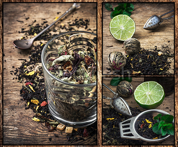 Tea főzet kollázs levelek fa asztal virág Stock fotó © nikolaydonetsk
