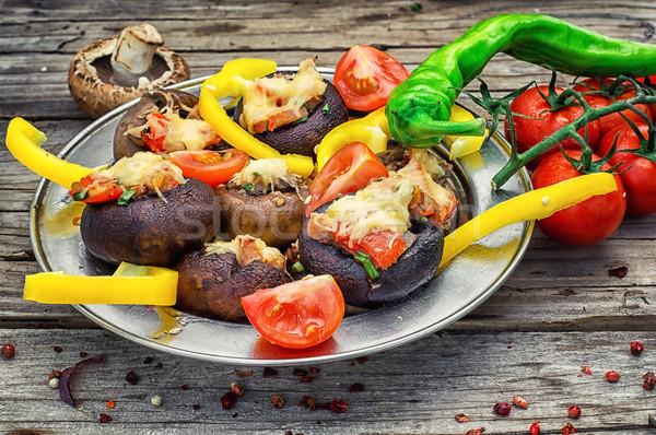 詰まった キノコ 簡単 前菜 食品 チーズ ストックフォト © nikolaydonetsk