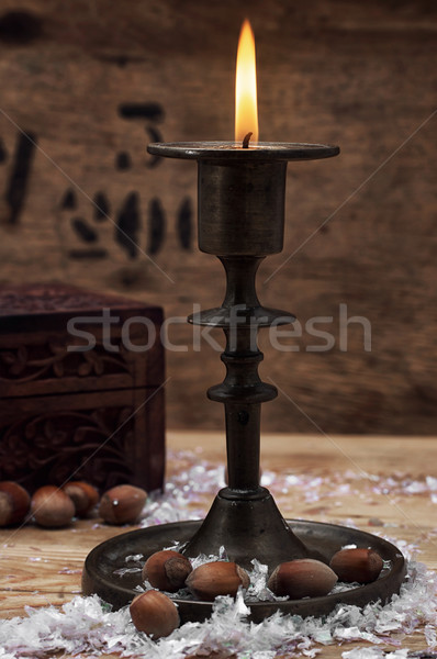 candle in the candlestick Stock photo © nikolaydonetsk