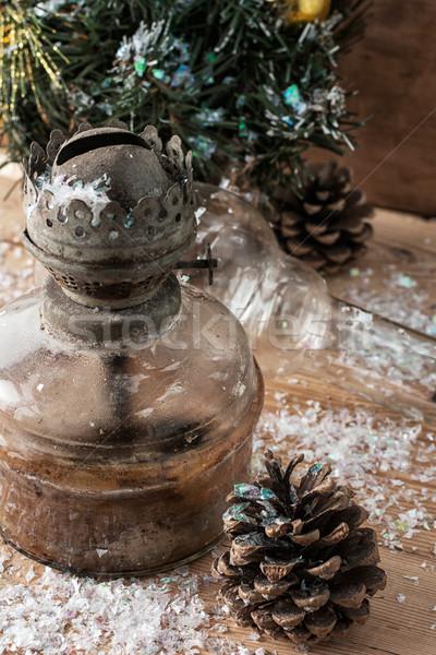 Vintage christmas decoratie retro-stijl Stockfoto © nikolaydonetsk