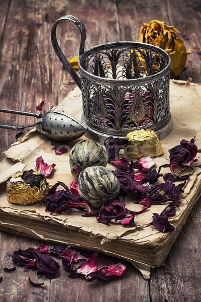 茶 図書 古本 葉 木製 ストックフォト © nikolaydonetsk