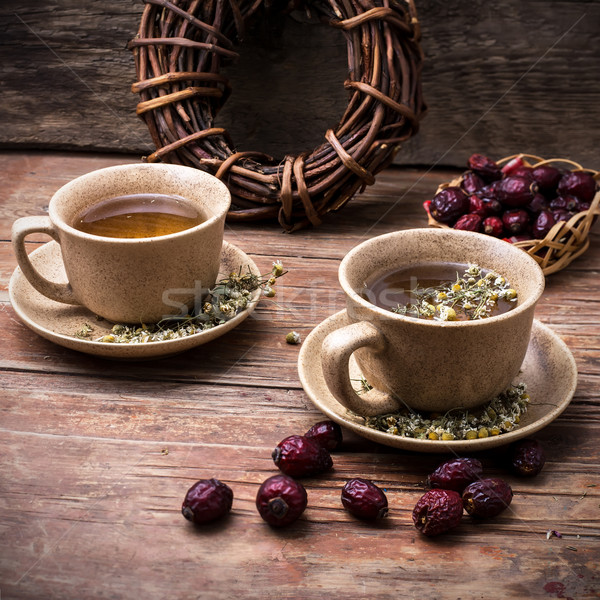 Two ceramic cups brewed tea  Stock photo © nikolaydonetsk