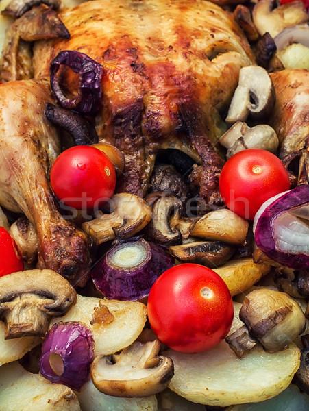 baked whole chicken in vegetables Stock photo © nikolaydonetsk