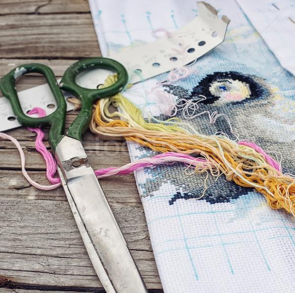 рукоделие пряжи потока ткань стороны Сток-фото © nikolaydonetsk