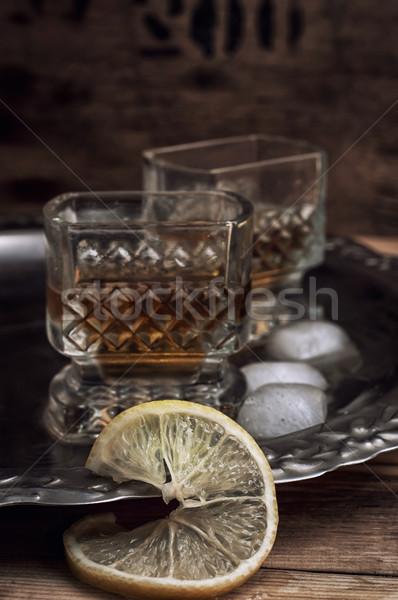 Alkoholos ital whiskey üveg klasszikus stílus háttér Stock fotó © nikolaydonetsk