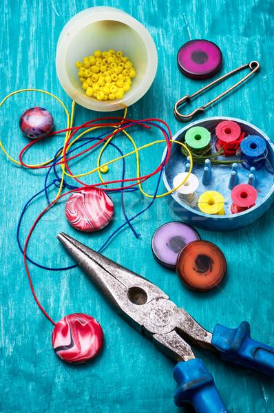 工芸 ビーズ ツール 裁縫 ターコイズ 木製 ストックフォト © nikolaydonetsk
