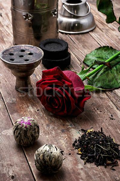Nargile wyschnięcia elita herbaty pozostawia szczegóły Zdjęcia stock © nikolaydonetsk