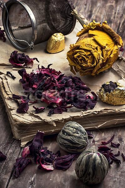 old book is strewn with the tea leaves Stock photo © nikolaydonetsk
