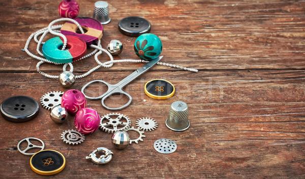 Kellékek kézimunka gyöngyök ékszerek kézzel készített fény Stock fotó © nikolaydonetsk