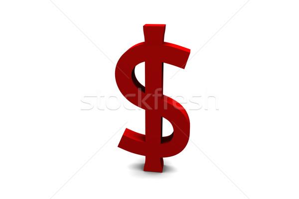 Dollarteken 3d render Rood geïsoleerd witte geld Stockfoto © nilanewsom