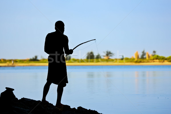 Paal vissen silhouet man Blauw zomer Stockfoto © nilanewsom