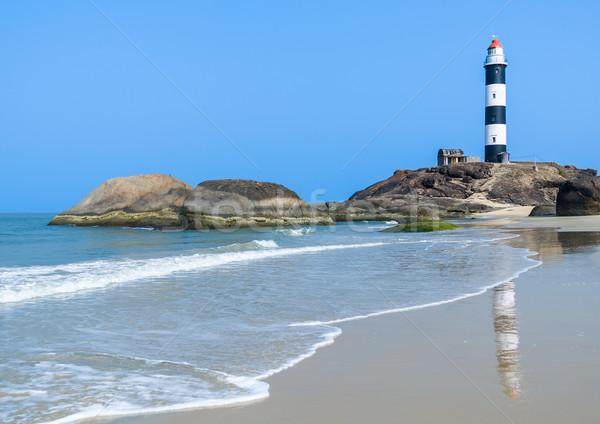 Vuurtoren strand gebouw golf eiland witte Stockfoto © nilanewsom